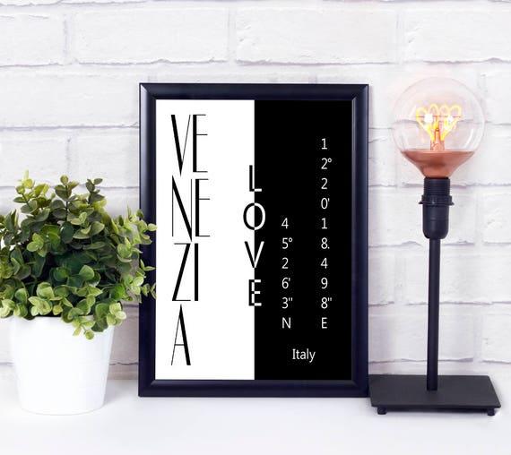 Venedig Koordinaten Poster, Venezia Stadtliebe Print, Wandkunst, druckbar, Digitaldruck, Geschenk zur Einweihung, Wohndeko, Wanddeko