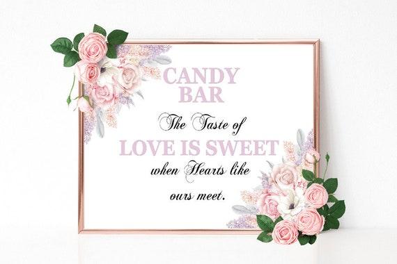 Candy Bar Schild, Liebe ist süß, Hochzeitsschild drucken, Buffet Schild, Bridal Shower, Geburtstag, Candy Bar Deko, Candy Buffet Schild, PDF