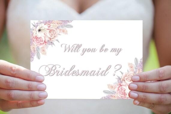 Brautjungfer Einladungskarte, Willst du meine Brautjungfer sein, Hochzeitskarte, Hochzeitseinladung, Druckbare Einladung, DIY Hochzeit