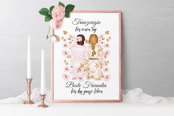 Trauzeugin Poster, Geschenk für die Trauzeugin, Wanbild, A4, A3