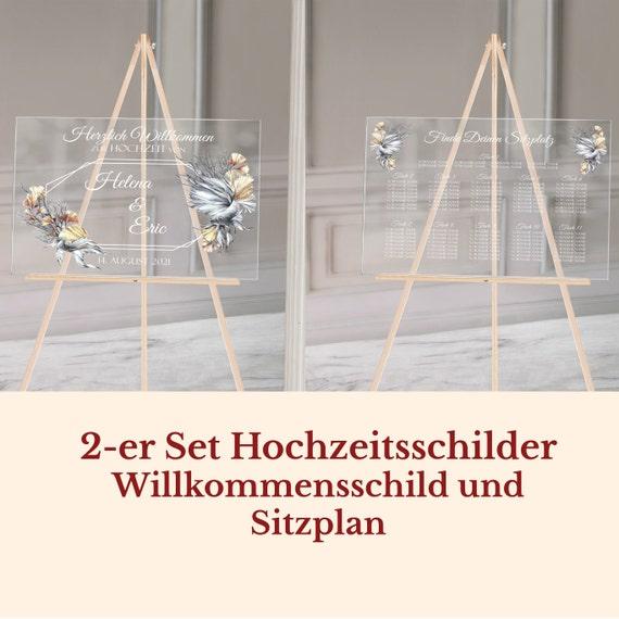 Hochzeitsschild + Sitzplan Set personalisiert, 2-er Set Schilder Hochzeit, Willkommensschild, Finde deinen Platz