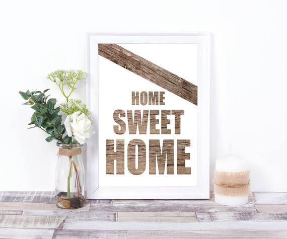 Home Sweet Home Druck, Digitale Wandkunst, Holz Print, Typografie Design, Neues Haus, Geschenk zur Einweihung, Familie, Wohn Dekor, Rustikal