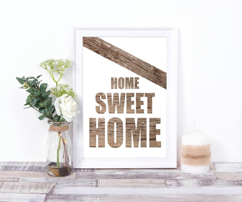 Home sweet home druck digitale wandkunst holz print for Digitaler bilderrahmen holzoptik
