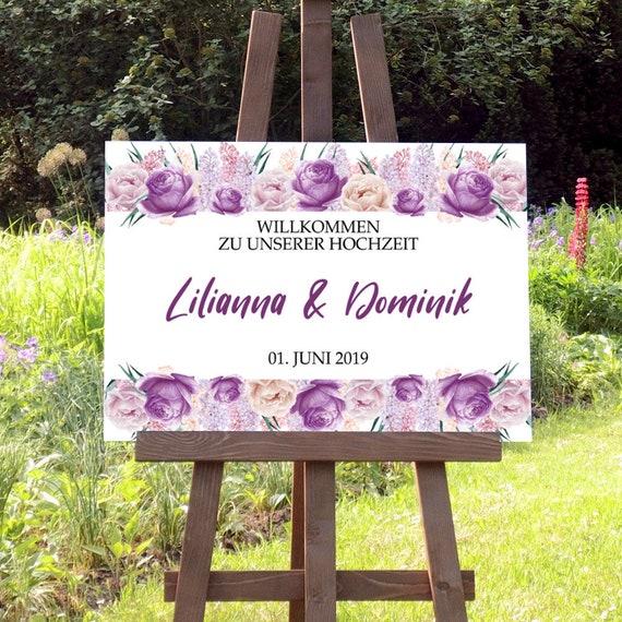 Lila Hochzeitsschild, Willkommen Hochzeit Schild, Rosen Willkommensschild, Hochzeitsschild drucken, Empfang Tafel, DIY Hochzeit Deko