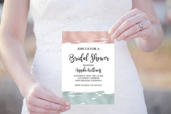 Bridal Shower Einladung, Brautparty Einladungskarte, Digitale Vorlage, Brautdusche Hochzeit, editierbare PDF, JGA Einladung
