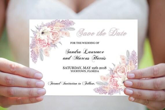 Save the Date PDF, Editierbare Vorlage, Druckbare Hochzeit Karte, Flieder Save the Date, Hochzeitseinladungen, DIY Save the Date, Blumen