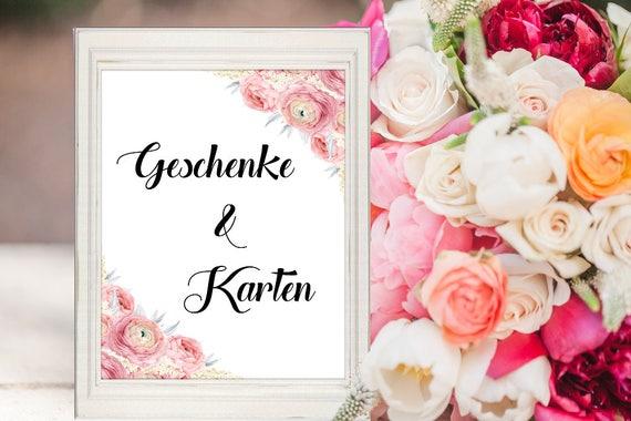 Hochzeit Schild, Geschenke und Karten, Dekoschild Geschenketisch, Digitaldruck, Sofort-Download, Hochzeitsschild Deutsch, Deko Hochzeit