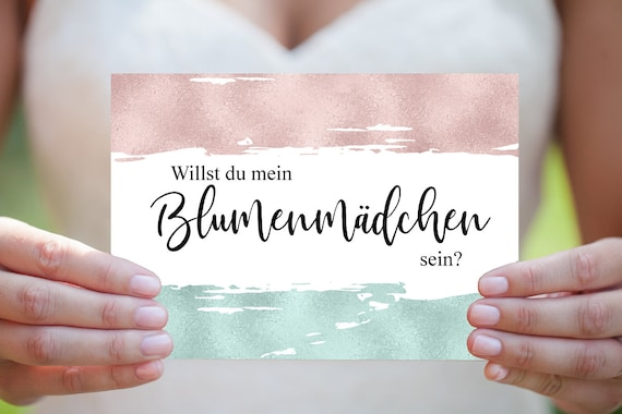 Blumenmädchen Karte, Hochzeitskarte, Einladung Vorlage, Digitale Karte, Einladungskarte, Moderne Hochzeit, Sofort Download