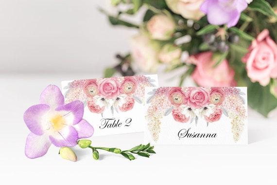 Hochzeit Platzkarten, Druckbare Vorlagen, Editierbare PDF, Tischkarten, Namenskarten, Hochzeitsdeko, Tischdeko, DIY Hochzeit