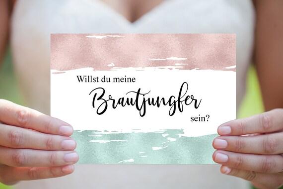 Brautjungfer Karte, Hochzeitskarte, Hochzeitseinladung,  Brautjungfer Vorschlag, DIY Hochzeit, Moderne Hochzeit, druckbare Einladung