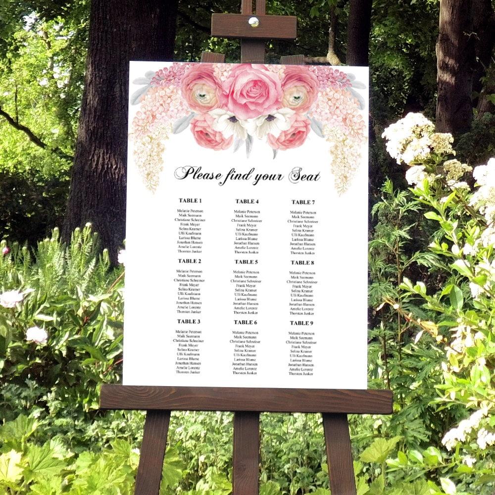 Hochzeit Sitzplan Vorlage Blumen Sitzplan Hochzeitsschild