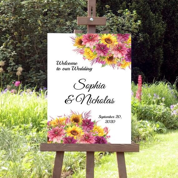 Hochzeitsschild Sonnenblumen, Willkommen zur Hochzeit, Willkommensschild, Sommerhochzeit, Verlobung, Geburtstag, Schild, Poster, Leinwand