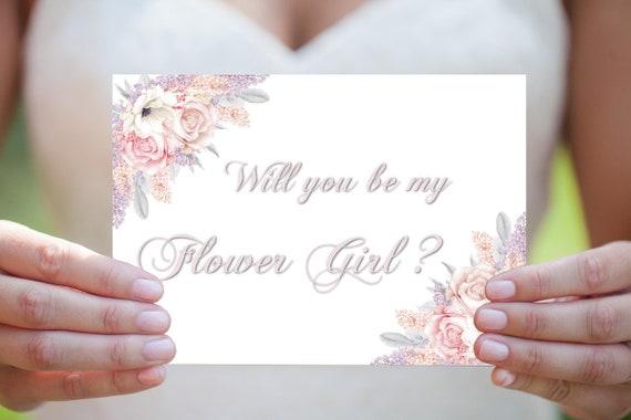 Blumenmädchen Karte, Vorschlag Einladung, Willst du Hochzeitskarte, Hochzeitseinladung, DIY Hochzeit, Druckbare Einaldung, Sofort Download