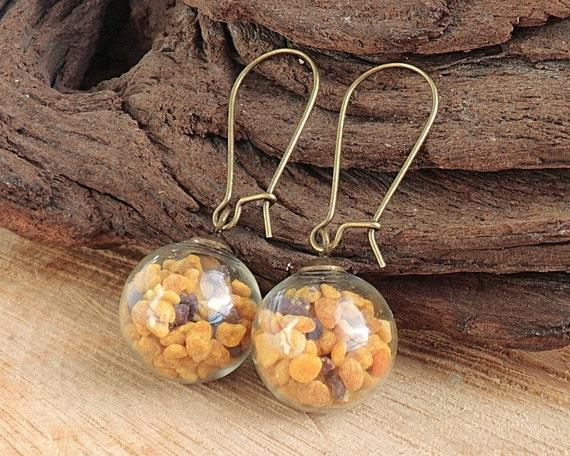 Bienenpollen Ohrringe, Naturschmuck, Blütenpollen, Glaskugel Anhänger, Biene Ohrringe, Geschenk für Frauen, Imker, Naturliebhaber