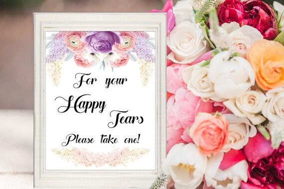 Freudentränen Deko-Schild, Purple-Lavender, Hochzeit Dekoration, Taschentuch Box Schild, Digitaldruck, druckbare Deko, Sofort Download