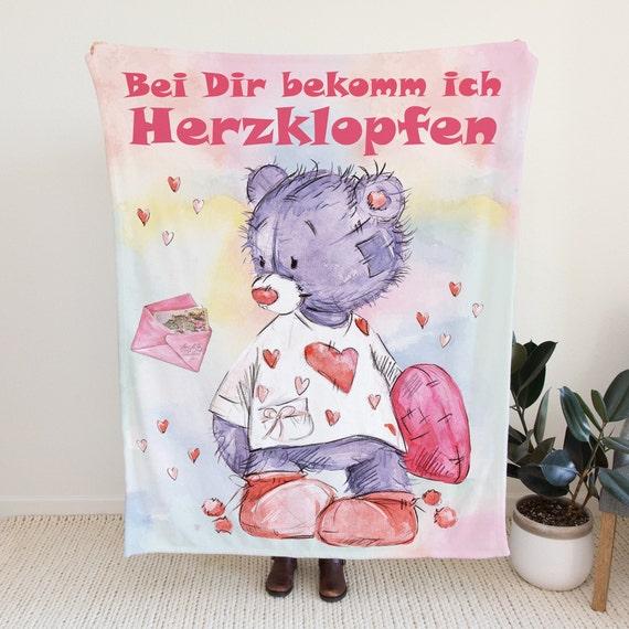 Fleecedecke Herzbär, Überwurf, Valentinstag Decke