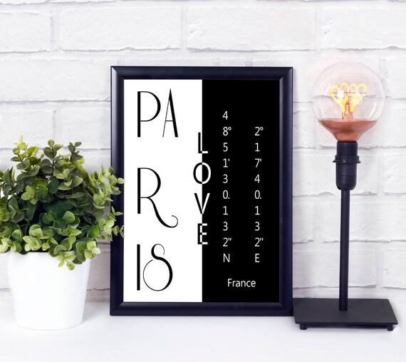 Paris Liebe Koordinaten Poster, Stadtliebe Print, moderne Wandkunst, druckbares Poster, Digitaldruck, Geschenk zur Einweihung, Download