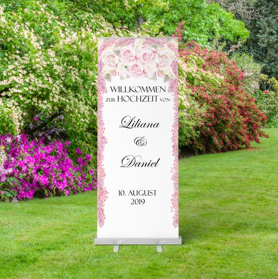 Hochzeitsbanner, Roll-Up Hochzeitsschild, Willkommensschild, Roll-Up Display, Willkommen zur Hochzeit, Hochzeitsdeko