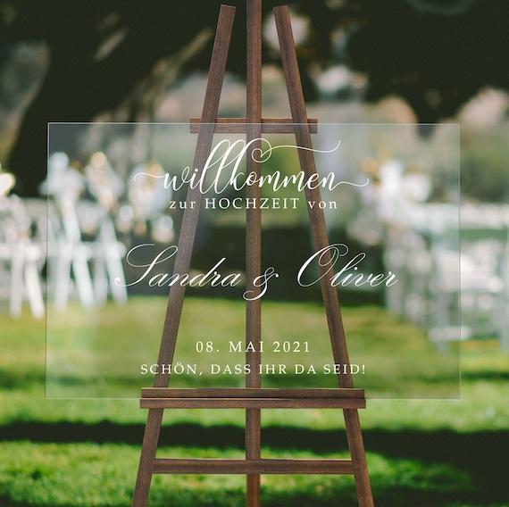 Acryl Hochzeitsschild, Willkommensschild, Hochzeit, Plexiglas Hochzeitsdeko, Minimalistisch, Willkommen zur Hochzeit, Personalisiert