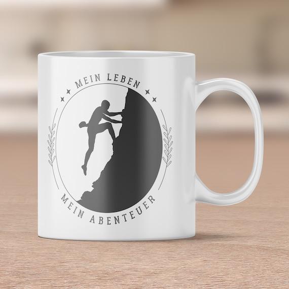 Tasse Klettern, Mein Leben, Mein Abenteuer, Kaffeetasse, Kaffeebecher, Klettersport, Felsklettern, Teetasse, Berge Spruch, Bouldern