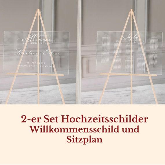 Hochzeitsschild Sitzplan Set Acrylglas, Hochzeitsschilder 2-er Set personalsiert, Willkommen, Finde deinen Platz