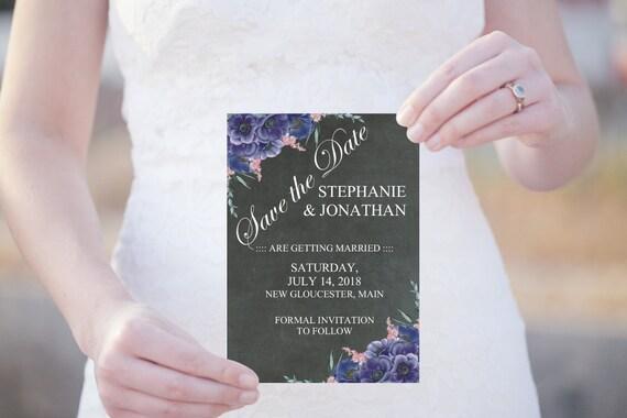 Save the Date Karte, Druckbare Save the Date, Editierbare Vorlage PDF, Boho Chic Hochzeitseinladung, Tafel Einladung, Florale Hochzeit