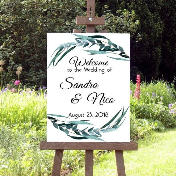 Willkommen Hochzeit Schild, Grünes Laub Hochzeitsschild, Druckbares Willkommensschild, Botanische Hochzeit, DIY Hochzeitsdeko