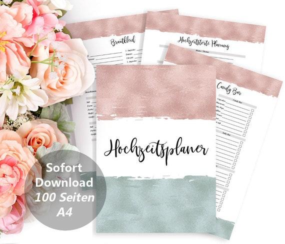 Hochzeitsplaner Digital, Druckbarer Planer, DIY Hochzeit, Planer Buch, Verlobungsgeschenk, Braut Geschenk, Moderne Hochzeit