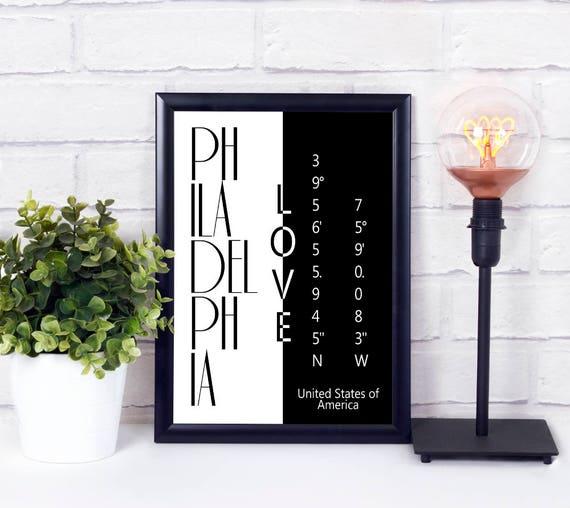 Philadelphia Liebe Koordinaten Poster,Stadtliebe Print, Wandkunst, druckbare Wanddeko, Digitaldruck, Geschenk zur Einweihung, Download