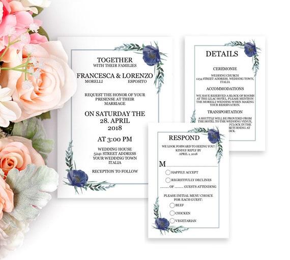 Einladung Hochzeit Set, Hochzeitseinladung, Editierbare Vorlagen, Detail, RSVP, Einladungskarten, Hochzeitskarten selbst gestalten, DIY