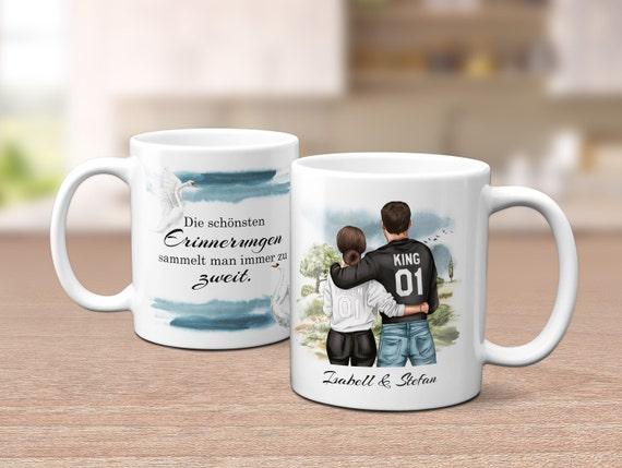 Queen & King Tasse, personalisierter Kaffeebecher, Sprüche Tasse, Pärchen Tasse