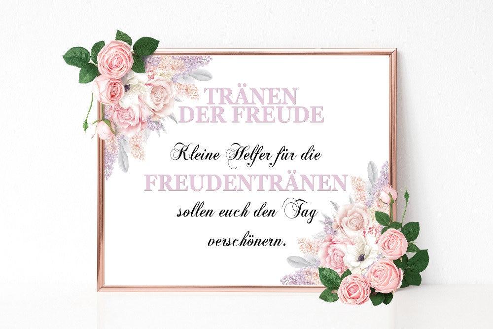 Freudentranen Schild Hochzeitsschild Drucken Hochzeitsdeko