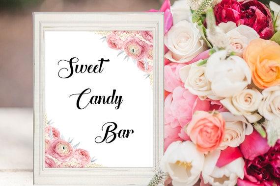 Süßigkeiten Bar Schild, Hochzeitsschild, Hochzeitsdekoration, Deko Schild Digital, Sofortdownload, druckbares Bar Schild