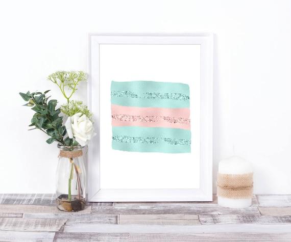 Mint-Rosa-Glitter Wandkunst, Moderne Wandkunst, Abstrakte Kunst, Digitaldruck, druckbares Download Poster, Pinselstrich,  Minimalist Druck