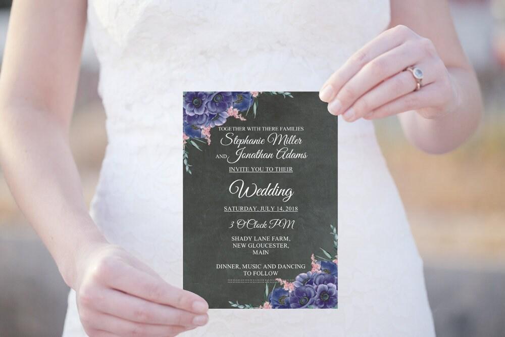 Hochzeit Einladungskarte, Tafel Einladung, Boho Hochzeitskarte, Editierbare  PDF Vorlage, Hochzeitseinladung, Violette Blüten, Download