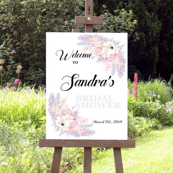 Brautdusche Schild, Willkommensschild, Druckbares Schild, Willkommen Dekoschild, Flieder Hochzeitsparty, Personalisiertes Willkommen Schild