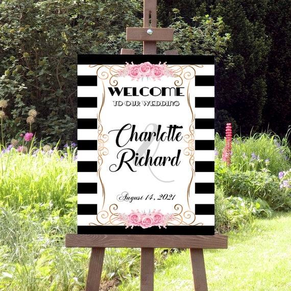 Willkommen zur Hochzeit Schild, Willkommensschild Hochzeit, Schwarz-Weiße Streifen, Druckbare Hochzeitsdeko, Deko Schild, Hochzeitsschild