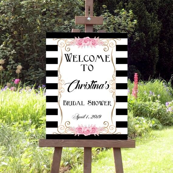 Brautdusche Willkommen Schild, Druckbares Willkommensschild, Streifen Schild, Brautdusche Dekoration, Deko Schild, Willkommen Zeichen
