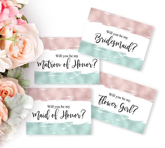 Hochzeitskarten Set, Trauzeugin Karte, Brautjungfer Vorschlag, Blumenmädchen, Hochzeitseinladung, druckbare Einladung