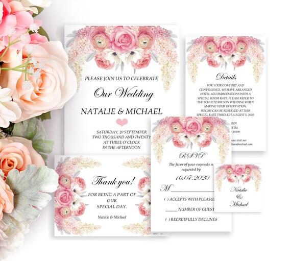 Flieder und Rosen Hochzeitseinladung Set, Einladung Hochzeit Vorlage, Editierbare PDF, Blumen Hochzeit, 5-er Set, RSVP, Detail, Danke Karte
