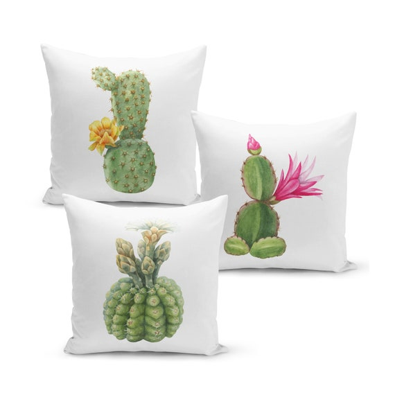 Kaktus Sofakissen, Kissen-Set, Dekokissen, Kissen mit Füllung, Kissenbezug, Kakteen-Set, Wohndeko, Geschenk, 40x40 cm