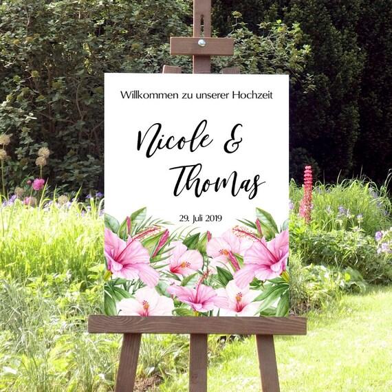 Hochzeitsschild, Willkommen zur Hochzeit Schild, Tropische Hochzeit, Personalisiert, Strandhochzeit, Florale Hochzeit, Pinke Blüten