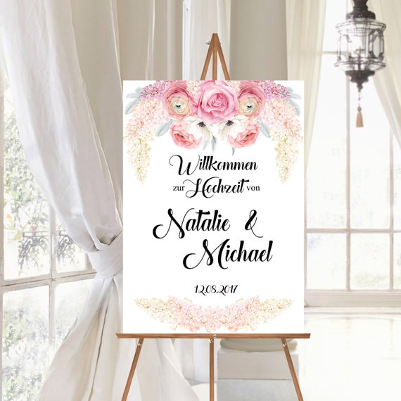 Willkommen Hochzeit Schild, personalisiertes Hochzeitsschild, Flieder und Rosen