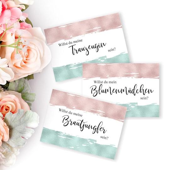 Trauzeugin, Brautjungfer, Blumenmädchen, Vorschlag Karten, Hochzeitskarten, druckbare Einladungen, Hochzeitseinladungen Set