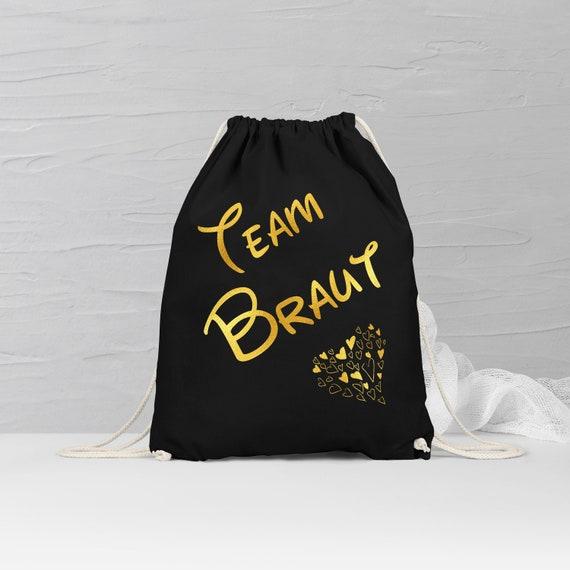 Team Braut Rucksack, JGA Turnbeutel, Sporttasche, Junggesellinnenabschied, Geschenk, Schwarz, Weiß, Gold, Rosegold, Silber