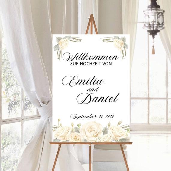 Hochzeitsschild weiße Rosen, Willkommen zur Hochzeit, Willkommensschild personalisiert