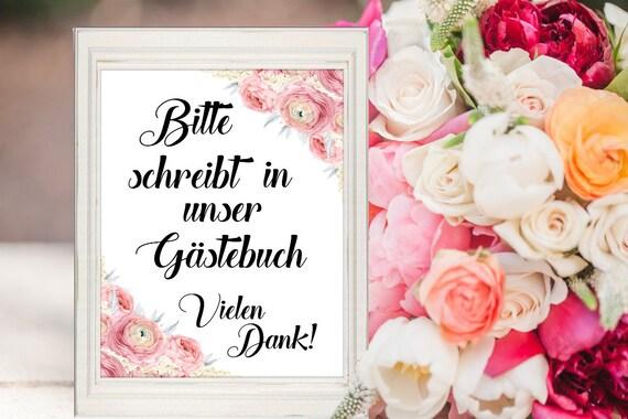 Hochzeit Gästebuch Schild, Dekoration Gästebuch, Hochzeitsschild, Hochzeitsdeko, Digitaldruck, Sofort-Download, Deutsch, Hochzeitsdeko