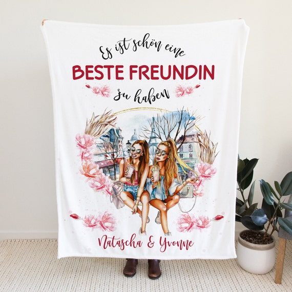 Beste Freundin Fleecedecke, Personalisiert, Namensdecke, Überwurf, Sofadecke