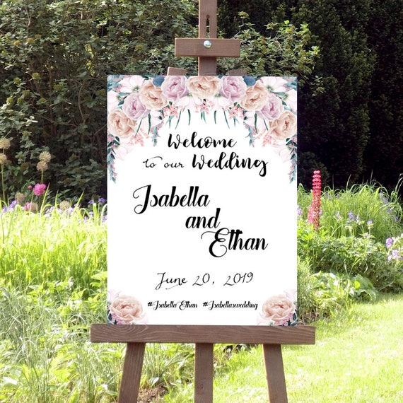 Willkommen zur Hochzeit Schild, Hochzeitsschild, Willkommenschild, Personalisierbar, Blumen, Dekoration, Hochzeitsdeko, Poster, Leinwand