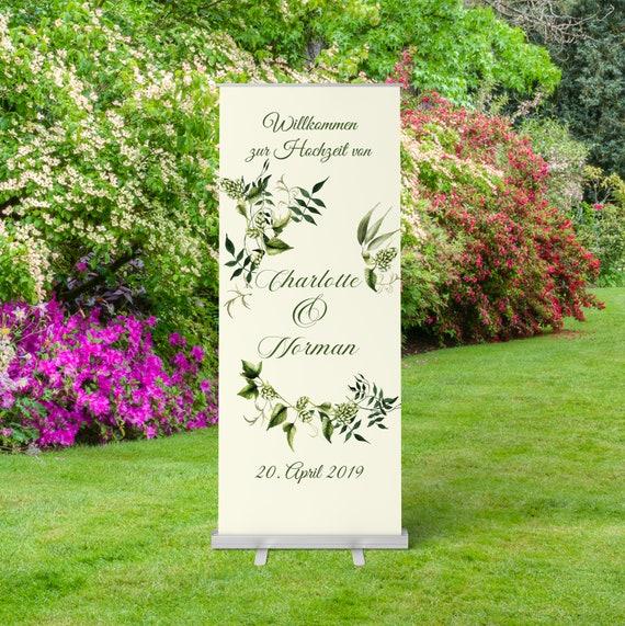 Hochzeitsbanner, Roll-Up, Wein Hochzeit, Willkommen Banner